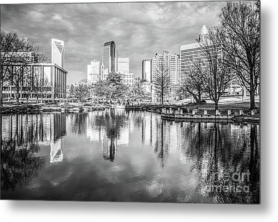 Charlotte Skyline Reflection Black And White Photo Metal Print by Paul Velgos