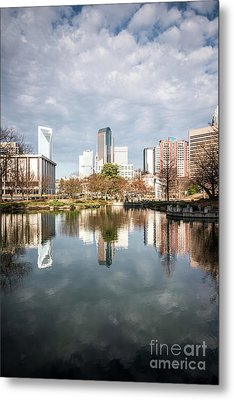 Charlotte Skyline Reflection On Marshall Park Pond Metal Print