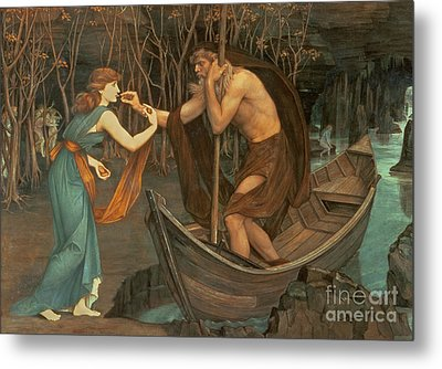 Charon And Psyche Metal Print by John Roddam Spencer Stanhope