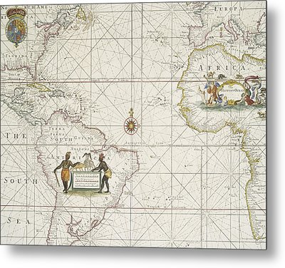 Chart Of The Atlantic Ocean Metal Print