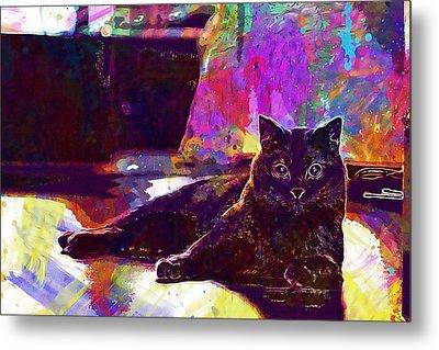 Metal Print featuring the digital art Chartreux Cat Animals Pet Mieze  by PixBreak Art
