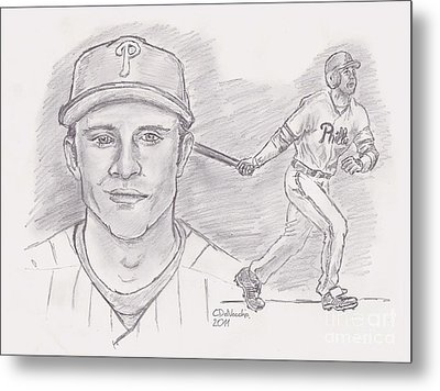 Metal Print featuring the drawing Chase Utley  by Chris  DelVecchio