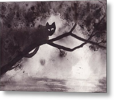 Metal Print featuring the painting Chat Dans L'arbre by Marc Philippe Joly