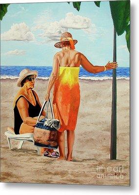 Chat On The Beach - Chat En La Playa Metal Print