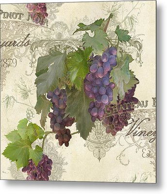 Chateau Pinot Noir Vineyards - Vintage Style Metal Print