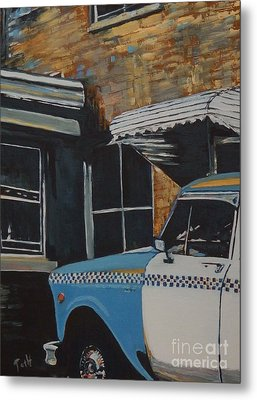 Checker Cab Metal Print