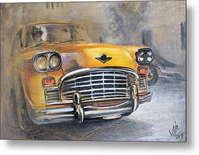 Checker Taxi Metal Print by Vali Irina Ciobanu