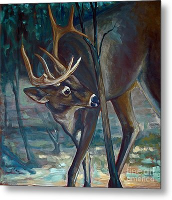 Checking A Rub Metal Print by Suzanne McKee