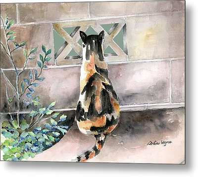 Checking Out The Neighbors Backyard Metal Print by Arline Wagner