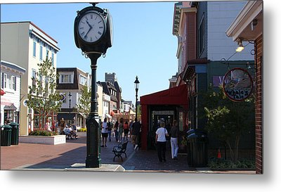 Metal Print featuring the painting Checking Out The Shops In Cape May by Rod Jellison