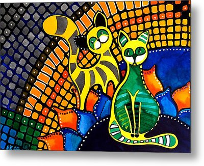 Metal Print featuring the painting Cheer Up My Friend - Cat Art By Dora Hathazi Mendes by Dora Hathazi Mendes