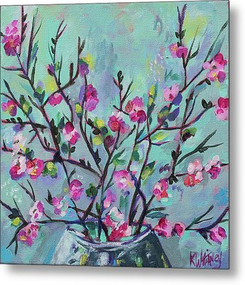 Cheerful Cherry Blossoms Metal Print