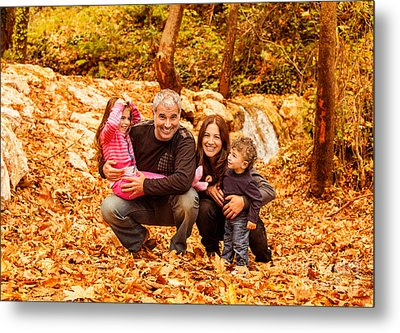 Cheerful Family In Autumn Woods Metal Print