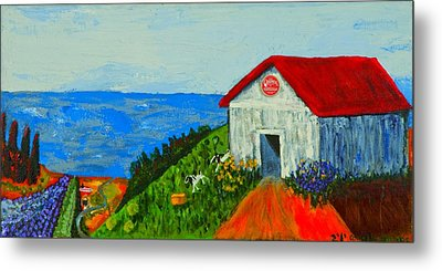 Metal Print featuring the painting Cheerwine Barn by Angela Annas