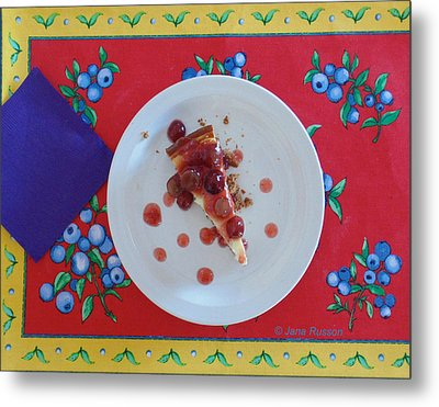 Metal Print featuring the digital art Cheese Cake With Cherries by Jana Russon