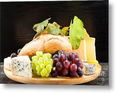 Cheese Plate With Red And Green Wine Grapes Metal Print by Wolfgang Steiner
