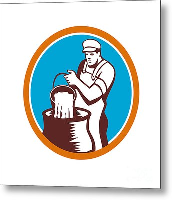 Cheesemaker Pouring Bucket Curd Circle Woodcut Metal Print