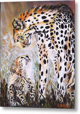 Cheetah And Pup Metal Print
