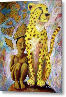 Cheetah Boy Metal Print