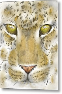 Metal Print featuring the digital art Cheetah Face by Darren Cannell