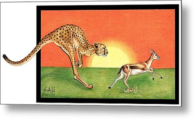 Cheetahroo On The Hunt Metal Print by Sheryl Unwin