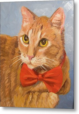 Cheetoh Cat Portrait Metal Print
