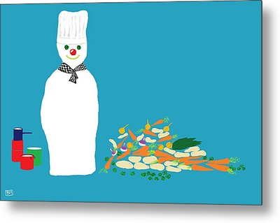 Chef Snowman Metal Print by Barbara Moignard