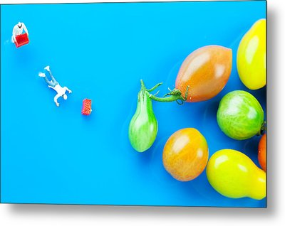 Metal Print featuring the painting Chef Tumbled In Front Of Colorful Tomatoes II Little People On Food by Paul Ge