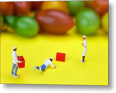 Metal Print featuring the painting Chef Tumbled In Front Of Colorful Tomatoes Little People On Food by Paul Ge