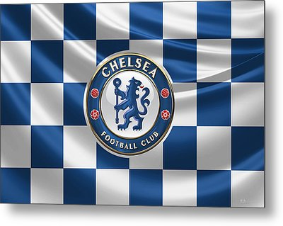 Chelsea F C - 3 D Badge Over Flag Metal Print by Serge Averbukh