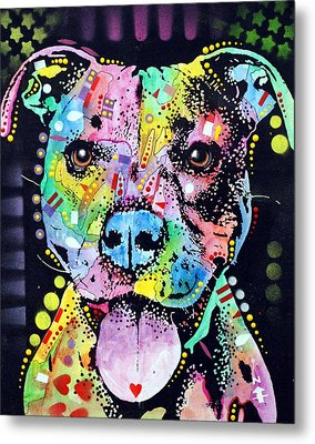 Cherish The Pitbull Metal Print by Dean Russo