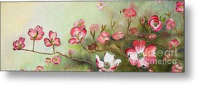 Metal Print featuring the painting Cherokee Dogwood - Brave- Blushing by Jan Dappen