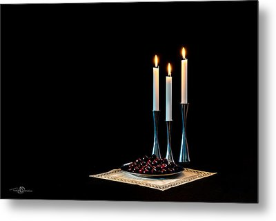 Cherries And Candles In Steel Metal Print by Torbjorn Swenelius