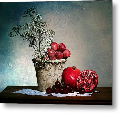 Cherries And Pommegranates Metal Print by Levin Rodriguez