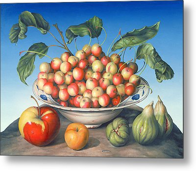 Cherries In Delft Bowl With Red And Yellow Apple Metal Print by Amelia Kleiser