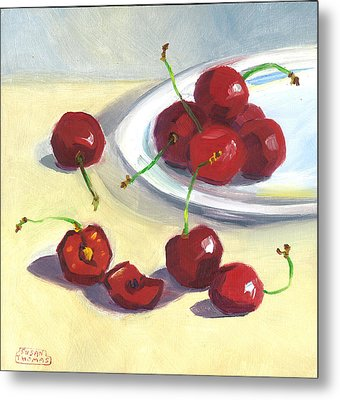 Cherries On A Plate Metal Print by Susan Thomas