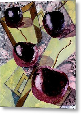 Cherries On Flat Homeware Metal Print by Evguenia Men