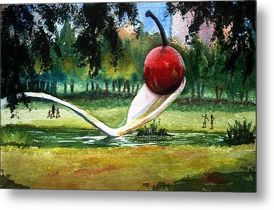 Cherry And Spoon Metal Print by Marilyn Jacobson