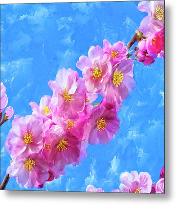 Metal Print featuring the painting Cherry Blossom Pink - Impressions Of Spring by Mark Tisdale