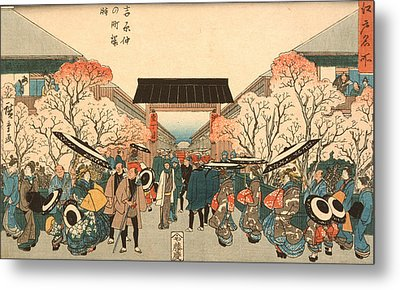 Cherry Blossom Time In Nakanocho Metal Print by Hiroshige