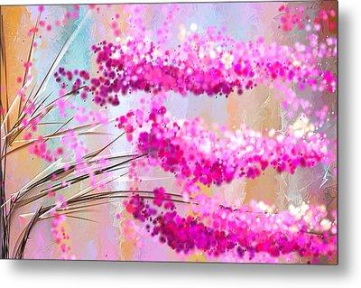 Cherry Blossoms Impressionist Metal Print