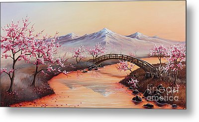 Cherry Blossoms In The Mist - Revisited Metal Print