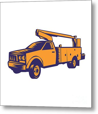 Cherry Picker Mobile Lift Truck Woodcut Metal Print