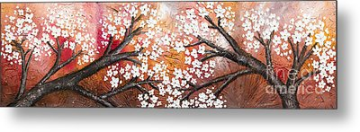 Cherry Tree In Red Metal Print
