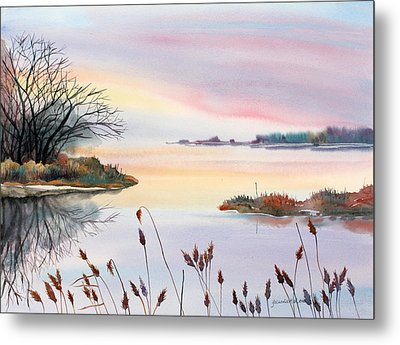 Metal Print featuring the painting Chesapeake Bay Sunset by Yolanda Koh