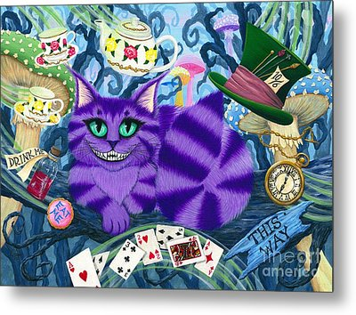 Metal Print featuring the painting Cheshire Cat - Alice In Wonderland by Carrie Hawks