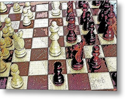 Chess Board - Game In Progress 1 Metal Print by Steve Ohlsen