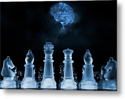 Chess Game And Human Brain Metal Print by Christian Lagereek