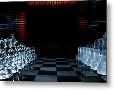 Chess Game Performed By Artificial Intelligence Metal Print by Christian Lagereek