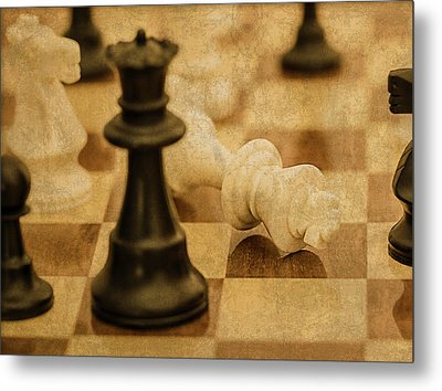 Chess Pieces On Board Metal Print by Design Turnpike